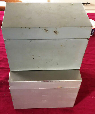 """Two Vintage Metal File Boxes For 6"""" X 8"""" Cards - 1 5"""" Deep, 1 8"""" Deep-Unbranded"""
