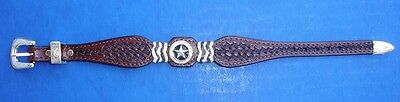 Western Jewelry Hand Tooled Top Grain Leather Banded Bracelet With Star Concho