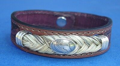 Western Jewelry Hand Tooled Leather Equine Concho Bracelet W/SS Caps Size Med.