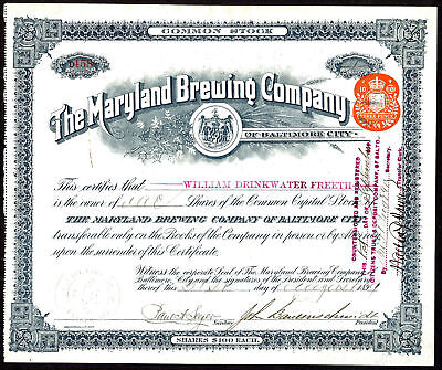 USA: Maryland Brewing Co. of Baltimore City, common stock, $100 shares, 1899