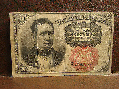 1874 5th Issue 10 Cent Fractional Currency Note William M Meredith Red Seal F-VF
