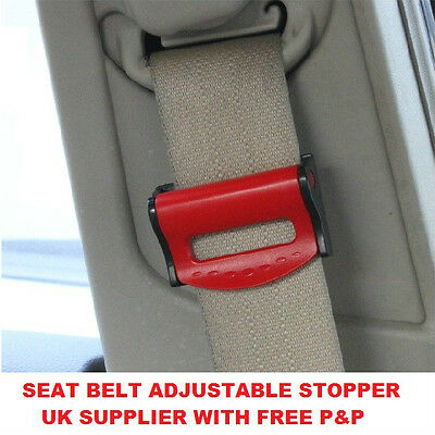 BMW car SEAT BELT BUCKLE RED adjuster strap stop SUPPORT CLIP SAFETY improves