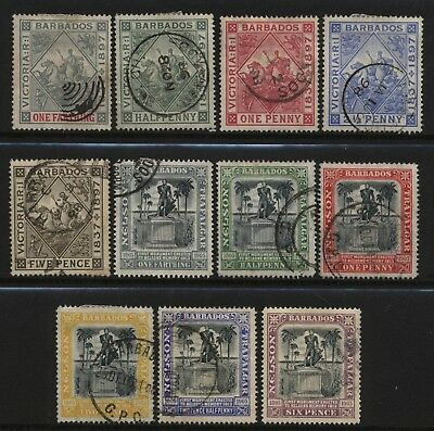 Barbados 1897 / 1906 Collection 11 Diamond Jubilee / Cent Nelson Stamps Used