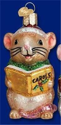 Brown And White Caroling Mouse Old World Christmas Glass Mice Ornament Nwt 12427