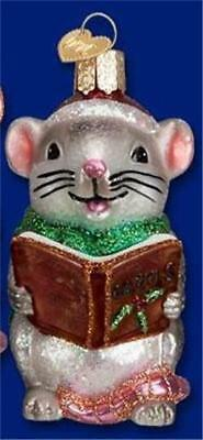 Gray And White Caroling Mouse Old World Christmas Glass Mice Ornament Nwt 12427