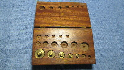 Antique GOLD MINERS CARAT Brass Balance Scale Weights in Original Wood Case