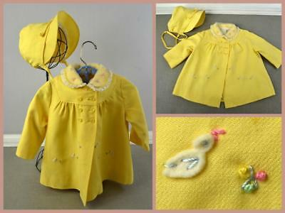 vtg 50's baby child's Kute Kiddies embroidered ducks organdy collar coat and hat