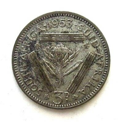 South Africa Coins, Threepence 1953, 3D, Silver 0.500