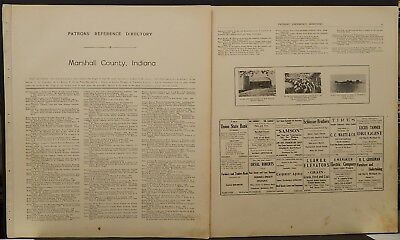 Indiana Marshall County Map Patron's Reference Directory 1922 Dbl Pg/Side K20#67