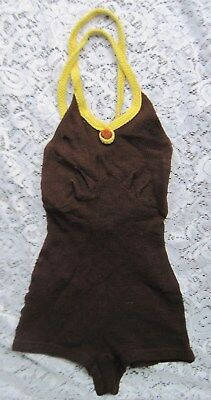 Early Vintage Childs Wool Knit Bathing/Swim Suit   Brown w/Yellow Trim
