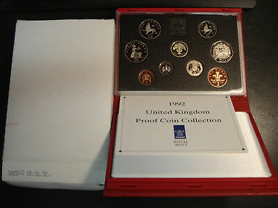 1992 Great Britain 9 Coin Deluxe Proof Set RED CASE BOX & COA has 2 50 Pence