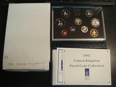 1992 Great Britain 9 Coin Proof Set Blue Case BOX & COA has 2 50 Pence