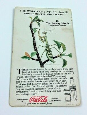 1930 Coca Cola~The World of Nature~Insects Helpful,Harmful~#10 Praying Mantis