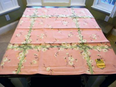 The Sweetest New Old Stock Barkcloth Table Cloth~Ribbons & Bows~Mid Century