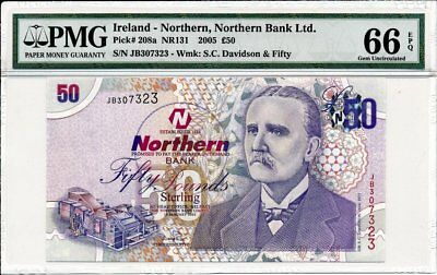 Northern Bank Ltd. Ireland - Northern  50 Pounds 2005  PMG  66EPQ