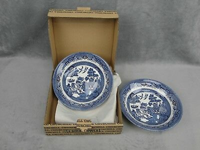 2 Churchill Blue Willow Made Staffordshire England ~ Soup Bowls ~ New