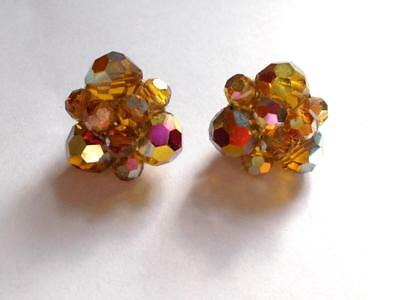 Vintage 1950/'s Aurora Borealis Faceted Crystals 14ct Rolled Gold Earrings