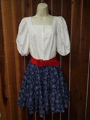 Women's Size Large Red White & Blue Country Western Square Dance Outfit 4 Pieces