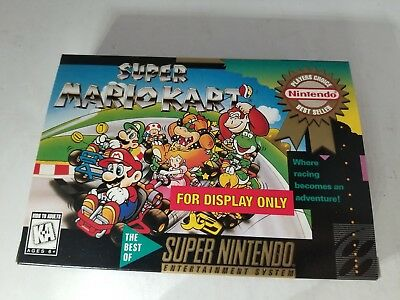 """SUPER MARIO KART Official Super Nintendo SNES  """" For Display Only """" Box NO GAME"""