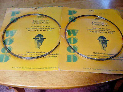 2 New PS Wood Timber Wolf  93 1/2 X 3/16 wide 10 TPI .025 Band Saw Blades