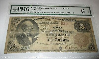 $5 1882 Yarmouth Massachusetts MA National Currency Bank Note Bill! Brown Back!