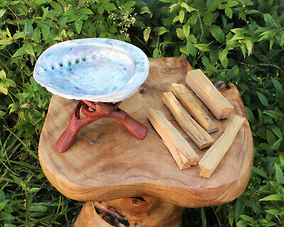 """Abalone Shell, 6"""" Tripod Stand and Five Palo Santo Sticks: House Cleansing Kit"""