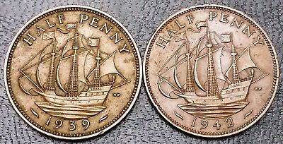 1939 and 1942 Great Britain Half Penny Coins ***1942 Double Date***