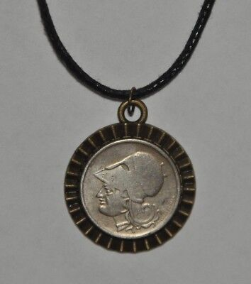 Authentic Greek Helmeted Goddess Athena Half Drachma Coin Pendant Black Necklace