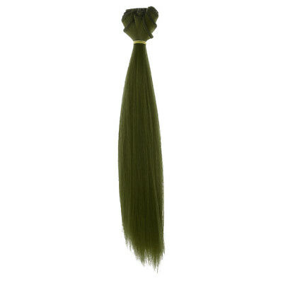 25x100cm Doll Straight Wig Hair Hairpiece for 1/3 1/4 1/6 BJD SD Doll Green