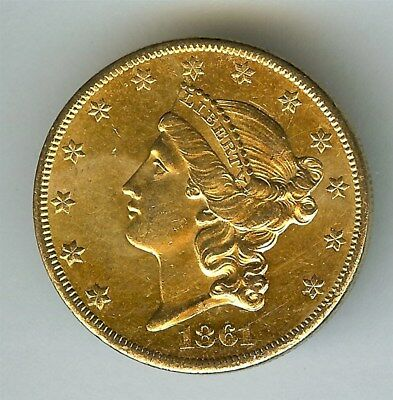 1861-S Liberty Head $20 Gold  Near Choice Uncirculated Very Rare In Unc!