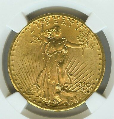 1910-S Saint Gaudens $20 Gold Ngc Ms-63  Majority Were Melted In The 1930's