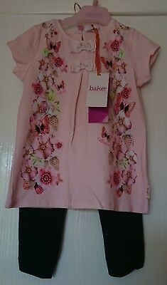 Ted baker girls placement print top and Legging outfit age 3-4 years NEW