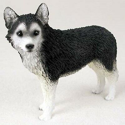 B&W SIBERIAN HUSKY Dog resin FIGURINE Black & White brown eye puppy HAND PAINTED