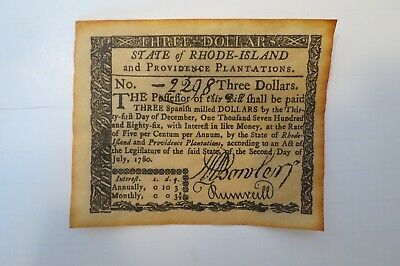 State of RHODE ISLAND COLONIAL NOTE $3 JULY 2,1780  #2298    Reproduction