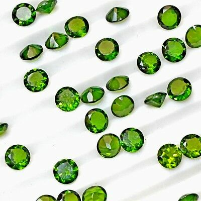 Wholesale Lot 3mm to 5mm Round Cut Natural Chrome Diopside Loose Calibrated Gems