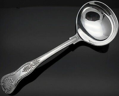 Gleaming Antique Kings Pattern Sauce Ladle - Silver Plated