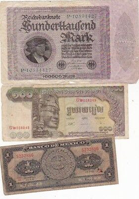 7 1923-1990 Circulated Notes From All Over