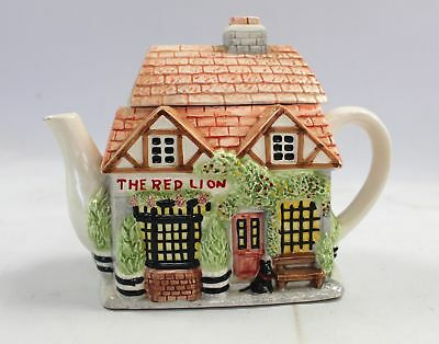 """THE VILLAGE Collectables """"The Red Lion Pub"""" Ceramic Novelty TEAPOT - Rowe - C15"""