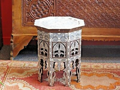 Syrian Table Inlaid With Mother Of Pearl From Damascus.