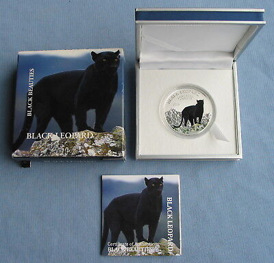2013 Congo Black Leopard Beauties 20g Sterling Silver Color Inverse Proof Coin