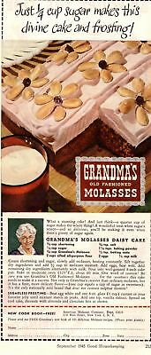 1945 Good Housekeeping Magazine Advertisement Grandma's Molasses 3/4 Page Ad 354