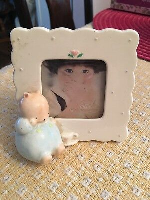 Vintage Michel And Company Charpente Porcelain Baby Bear Boy Photo Frame