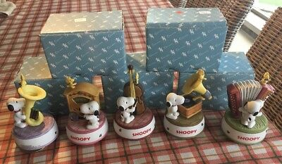 Peanuts RARE SET all 5! Snoopy playing various instruments Music Box Vintage