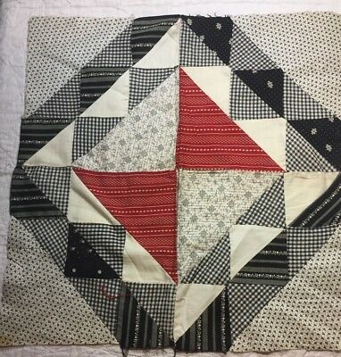 """ANTIQUE Cotton Quilt Block mid to late 1800's Fabrics 17"""" Great Prints"""