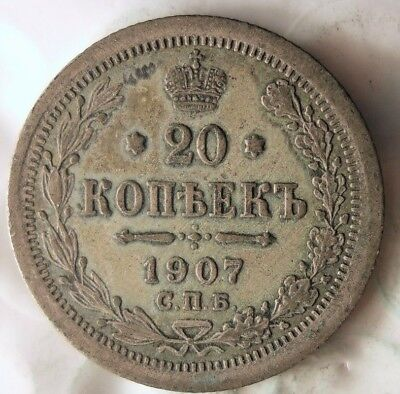 1907 RUSSIAN EMPIRE 20 KOPEKS - Excellent Scarce Silver Coin - Lot #620