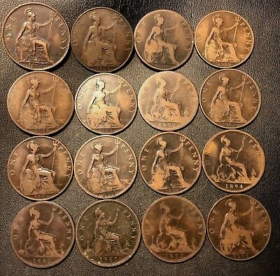 Vintage Great Britain Coin Lot - 16 LARGE Pennies - 1861-1919 - Lot #620