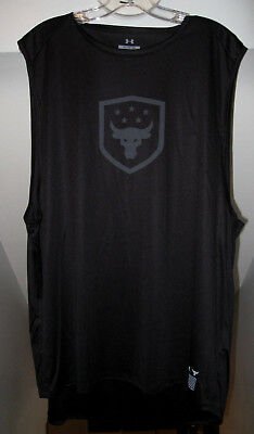 5e73be70a6e340 Under Armour Wwe Project Rock Collection Brahma Bull Logo Blk Muscle Shirt  Nwt