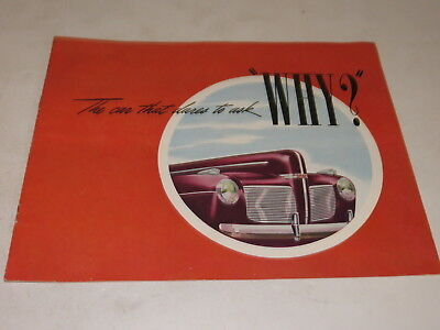 "1941 Mercury Automobile Brochure The Car That Dares To Ask ""why"""