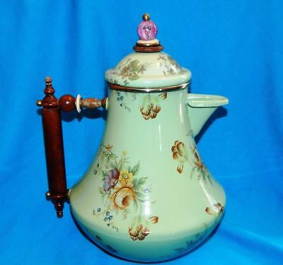 Camp Mackenzie-Childs Enamelware Coffee Or Tea Pot Green Floral Flowers
