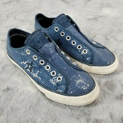 CONVERSE ONE STAR Blue Sequin Shoes Slip On Women's Size 7
